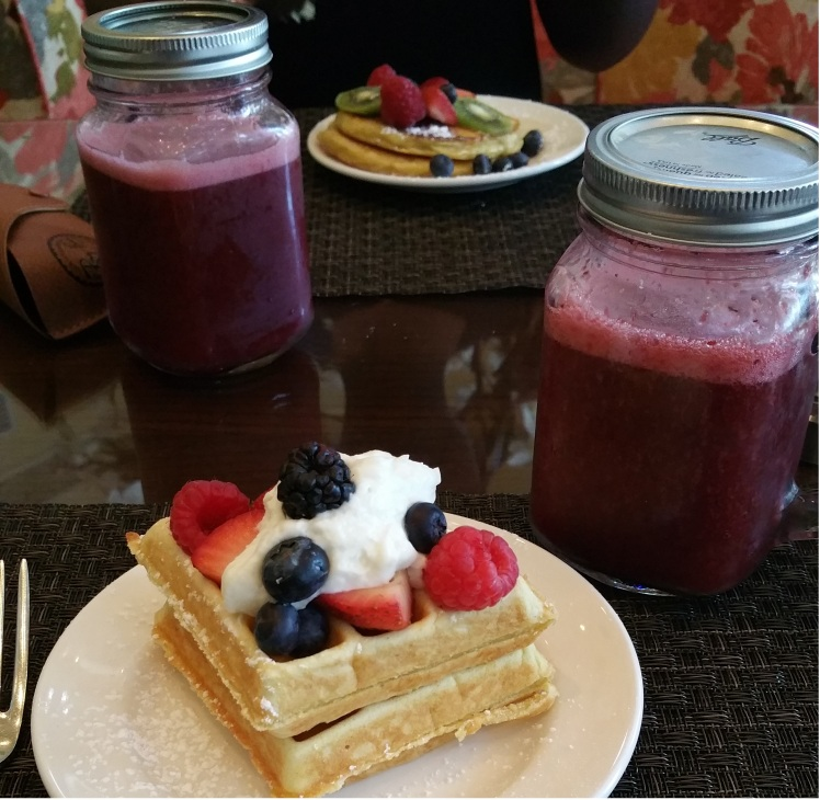 Waffles Pancakes & Watermelon Smoothie